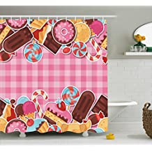 Ice Cream Shower Curtain by Ambesonne, Candy Cookie Sugar Lollipop Cake Ice Cream Girls Design, Fabric Bathroom Decor Set with Hooks, 105 Inches Extra Wide, Baby Pink Chestnut Brown Caramel