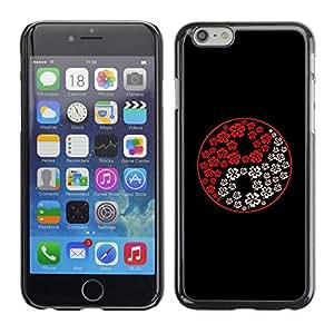 PC/Aluminum Funda Carcasa protectora para Apple Iphone 6 Plus 5.5 Yin Yang White Red Black Flowers Art / JUSTGO PHONE PROTECTOR