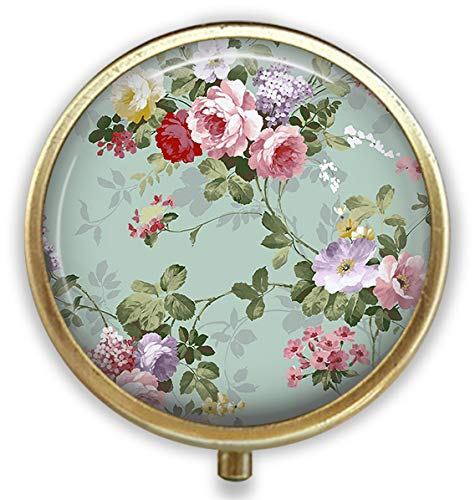 Vintage Floral Custom Round Bronze Pill Box Pocket 2.1 inches - 3 Compartments Pill Box/Pill Case Pocket