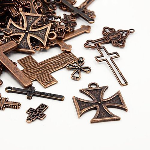 Pack of 30 Grams Red Copper Tibetan Random Shapes & Sizes Charms (Cross) - (HA07050) - Charming Beads