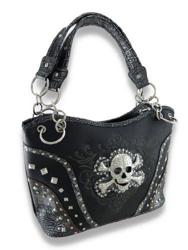Vinyl Womens Shoulder Handbags Embroidered Vinyl Concealed Carry Bag W/Jeweled Skull + Snakeskin Trim Black