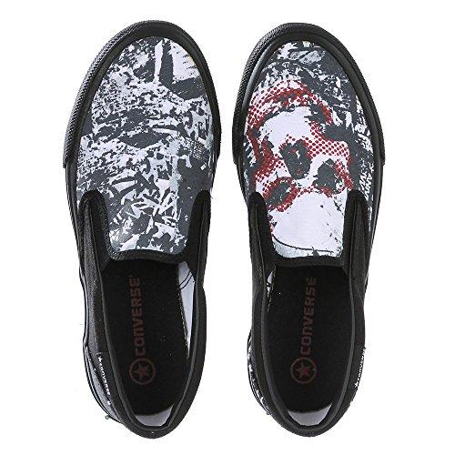 Converse Skateboard Schuhe Skid Grip Ev Tee Shirt White Slip On Schwarz/Weiß