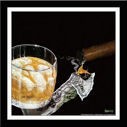 Burns Framed Print - 'MONEY TO BURN' Cigar Money art FRAMED/MATTED PRINT - Michael Godard 18x18