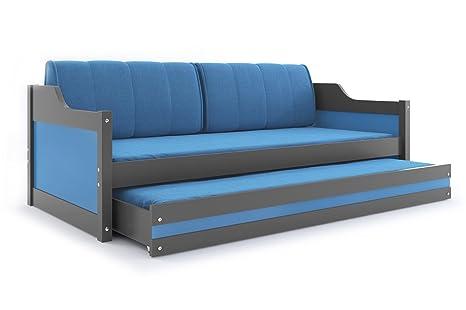 Cama individual DAVID con tirador de nido para niños, camas de madera de grafito para