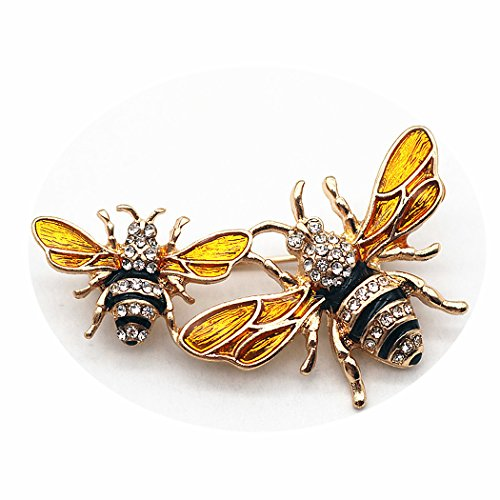 (Fiery Summer Classics Metal Double Bees Shirt Brooch Novelty Suit and Vest Pin (White Eyes))