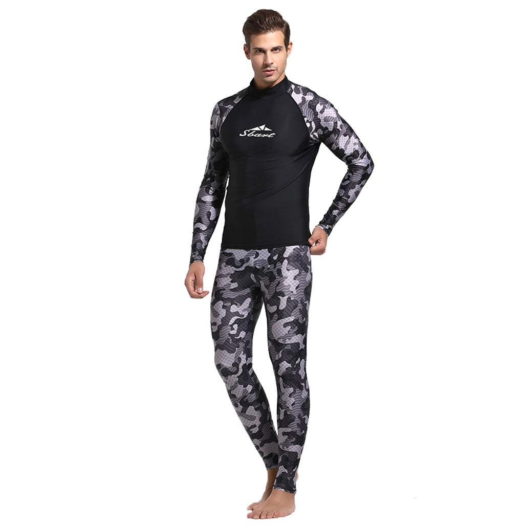 Allywit Full Body Dive Wetsuit Camouflage Sports Skins Rash Guard for Men, UV Protection Long Sleeve for Snorkeling