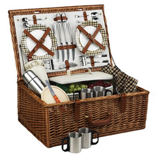 Picnic at Ascot Dorset English-Style Willow Picnic Basket with Service for 4 and Coffee Set - London Plaid ()