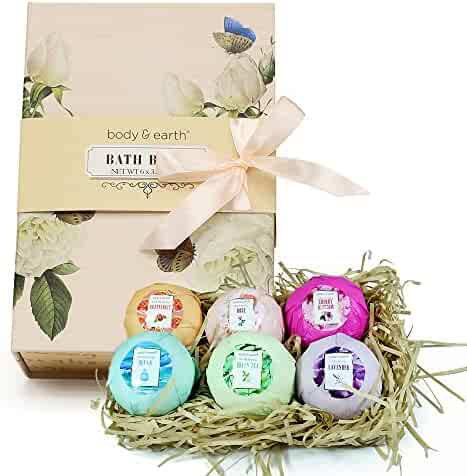 Bath Bombs Gift Set, Body & Earth 6pc Natural and Vegan Bath Fizzies, Infused with Essential Oils, Shea Butter and Coconut Oil, Best Gift Ideas for Women