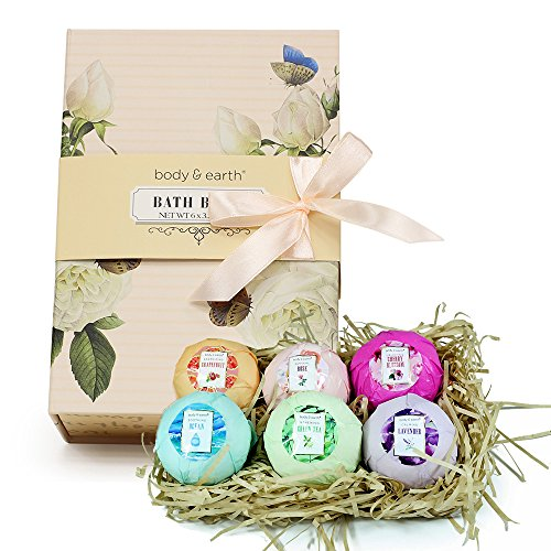 Bath Bombs Gift Set, Body & Earth 6pc Natural and Vegan Bath Fizzies, Infused with Essential Oils, Shea Butter and Coconut Oil, Best Gift Ideas for Women ($25 Gift Christmas Ideas)
