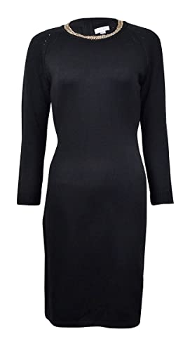Calvin Klein Womens Long Sleeve Sweater Dress with Chain Detail