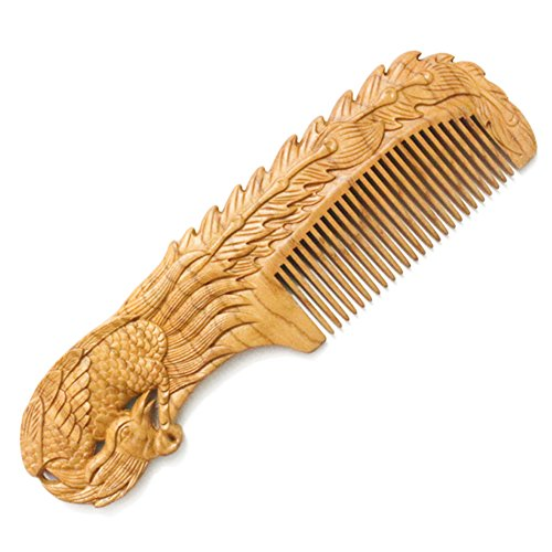 Forever Young Jaw Clips (YOY Natural Wood Hair Comb - Handmade Antistatic No Snag Brush for Men's Mustache Beard Care Anti Dandruff Women Girls Head Hair Accessory, Phoenix)