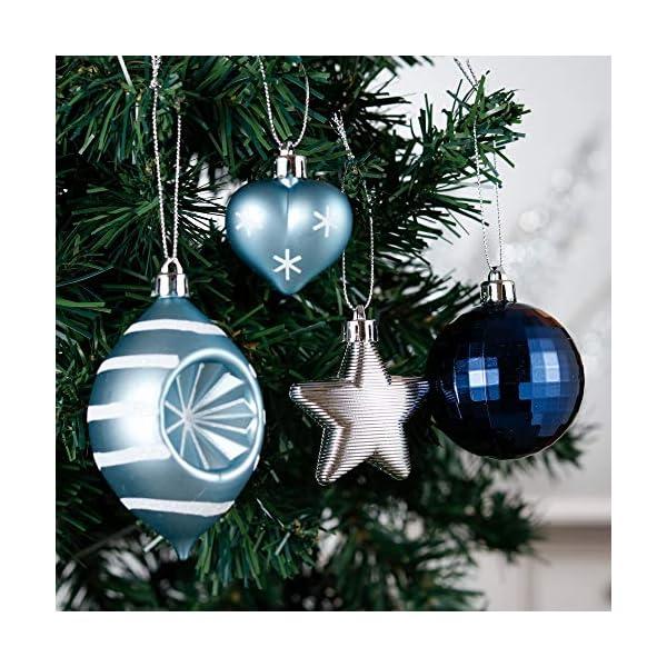 Valery Madelyn Palle di Natale 70 Pezzi di Palline di Natale, 3-10 cm Auguri Invernali Argento e Blu Infrangibili Palle di Natale Ornamenti Decorazione per la Decorazione Dell'Albero di Natale 5 spesavip