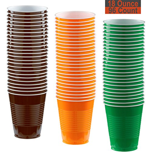 18 oz Party Cups, 96 Count - Brown, Pumpkin Orange, Festive Green - 32 Each -