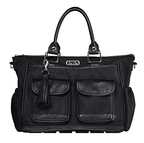 Itzy Ritzy Triple Threat Convertible Diaper Bag - Converts from a Tote to a Messenger Bag to a Backpack Diaper Bag; Includes 13 Total Pockets, Matching Stroller Straps & Changing Pad, Black
