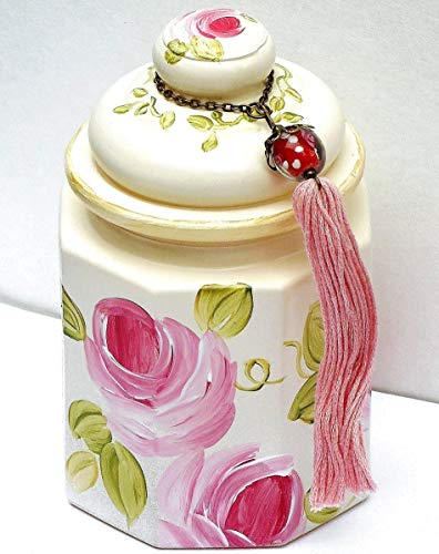 (Shabby Chic Decor Large Ivory Decorative Lidded Glass Jar with Hand Painted Pink Roses and Tassel)