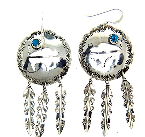 Made in the USA by Navajo Artist Cornelia Yazhe Crafted Sterling-silver Buffalo w Turquoise earrings
