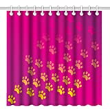 pink and yellow shower curtain - Wknoon 72 x 72 Inch Shower Curtain,Abstract Pink and Yellow Gold Paw Prints Faded Art,Waterproof Polyester Fabric Decorative Bathroom Bath Curtains