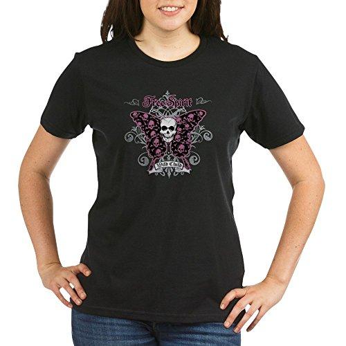 - Royal Lion Organic Women's T-Shirt Drk Butterfly Skull Free Spirit Wild Child - Black, Large