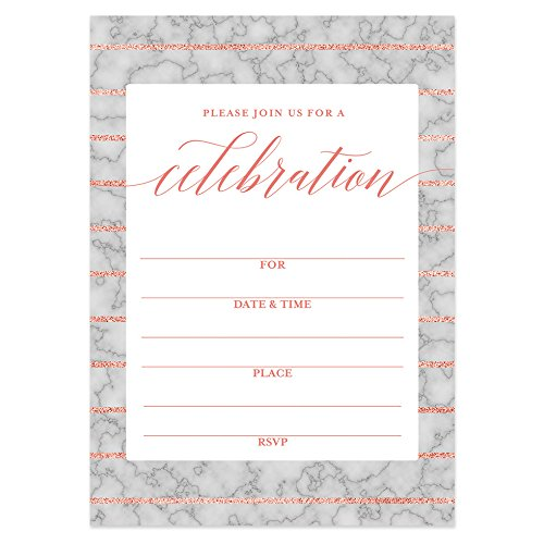 Any Invitation Occasion - Marble Invitations with Envelopes (Pack of 25) Any Occasion Large 5x7 Fill in Pink & Gray Anniversary, Retirement, Housewarming, Bridal Shower, Excellent Value Party Invites VI0050B