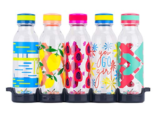 (reduce WaterWeek Reusable Water Bottle Set w/Fridge Tray, Go Girl - 5 Flask Pack, 20oz - BPA Free, Leak-Proof Twist Off Cap - Clear Bottles w/Colored Patterns - Reduce Plastic Use, Increase H2O Intake)