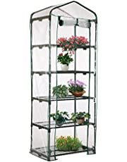GGGarden 69 x 49 x 187cm Apex Roof 5-Tiers Garden Greenhouse Hot Plant House Shelf Shed Clear PVC Cover