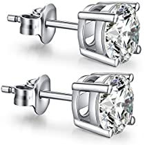 Sterling Silver Plated 18K Gold Plated Princess Cut Simulated Diamond CZ Stud Earrings, 925 Sterling Silver Princess Cubic Zirconia Round White CZ Earrings Stud, Simple 5mm Women/Men CZ Stud Earrings