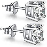 Diamond Earrings Studs Princess Cut Sterling Silver Cubic Zirconia Stud Earrings,Fake Diamond Stud Earrings,Faux Diamond Crystal CZ Earrings Studs Nickel Free Hypoallergenic Silver Earrings Studs 8mm