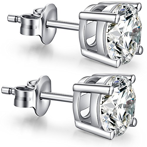 Sterling Silver Diamond Stud Earrings - Fashion Cubic Zirconia Earrings Fake Diamond Silver CZ Stud Earrings White Gold Plated Princess Cut Diamond Earrings Round Crystal Earring Studs for Women Men