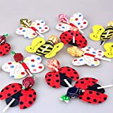 Dhanxinz Party Birthday Props Halloween 50pcs/lot Candy Lollipop Decoration Gift Cute Bees Ladybug Butterfly Design Lollypop Card Lovely Props For Kids Birthday Party (Random)