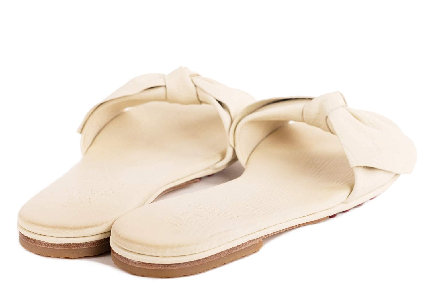 Brunello Cucinelli Leather Light Ivory Flat Bow Sandals Size IT37//US7~RTL$795
