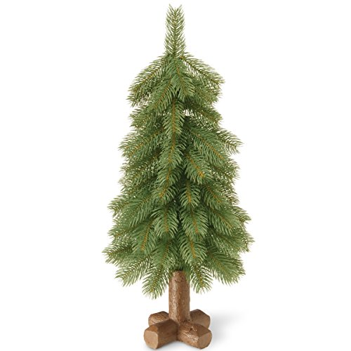 National Tree 24 Inch Feel Real  Bayberry Spruce Tree in Cross Faux Wood Base (PEBY1-710-24-1) -  ADULT
