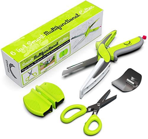 (Ethernial Food Chopper Knife - Fast Cutter Non-slip + Herb Scissors, Finger Guard, Sharpener - Smart Kitchen Scissors with Built-in Cutting Board - Salad Scissor Set)