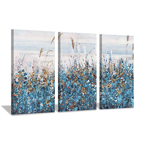 Abstract Blue Floral Wall Art: Flowers Blossom Painting Print on Canvas for Living Rooms (16