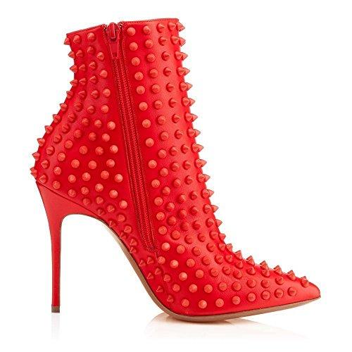 Arc-en-Ciel zapatos de mujer en punta del dedo del pie tachonado de arranque Rojo