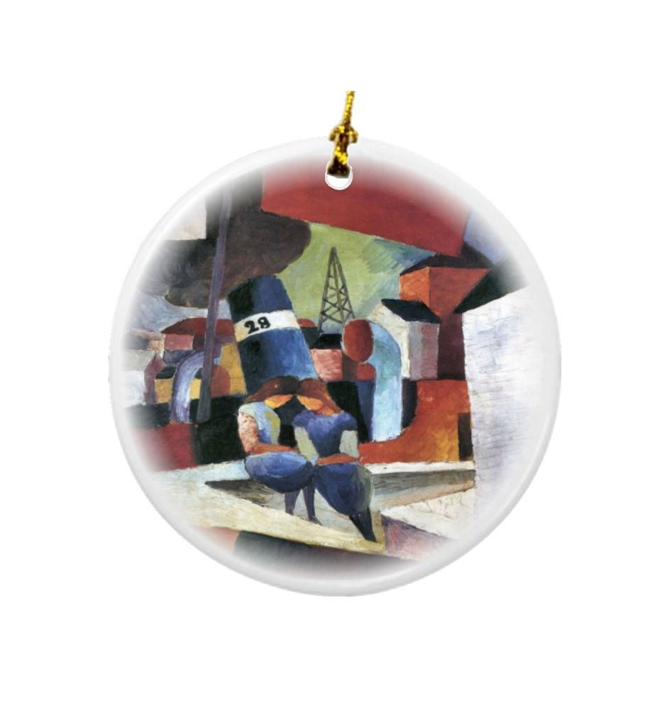 Rikki Knight August Macke Art Picture with Children on The Wall Design Round Porcelain Two-Sided Christmas Ornaments