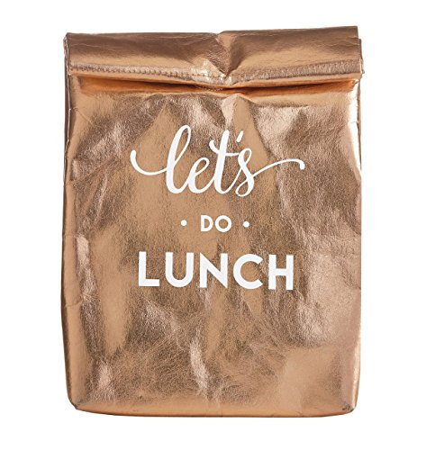 Santa Barbara Design Studio Let's Do Lunch Metallic Gold Washable Paper Insulated Tote Bag, 12 Inch ()