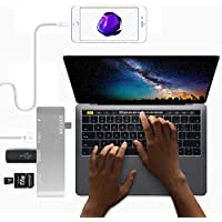 Type-C USB 3.0 5 in 1 Combo Hub for MacBook, Aluminum Multi-Port Adapter with USB-C Charging Port, Type-C Pass Through, 2 USB 3.0 Ports, SD/Micro Card Reader