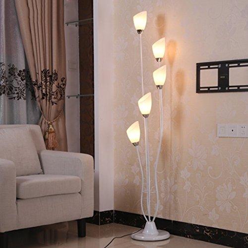MOMO Stehlampe einfache Stehlampe Schlafzimmer Stehlampe Farbe Eisen Kunst Lampe Körper Acryl Lampenschirm Wohnzimmer Dekoration Leselampe (Schwarze Und Gelbe Gläser)