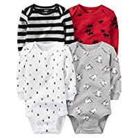 Carters Baby Boys 4-pack Long-sleeve Bodysuits (3 months, winter)