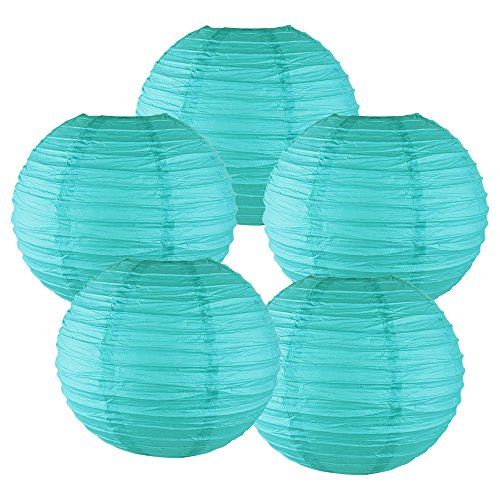 "Price comparison product image Just Artifacts 20"" Turquoise Chinese Japanese Paper Lanterns (Set of 5) – More colors & Sizes!"