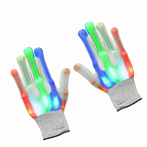 ZPTONE LED Gloves Finger Lights 5 Colors 6 Modes Flashing Skeleton Gloves Halloween Costume Party Favors Light Up Toys Novelty Christmas Gift