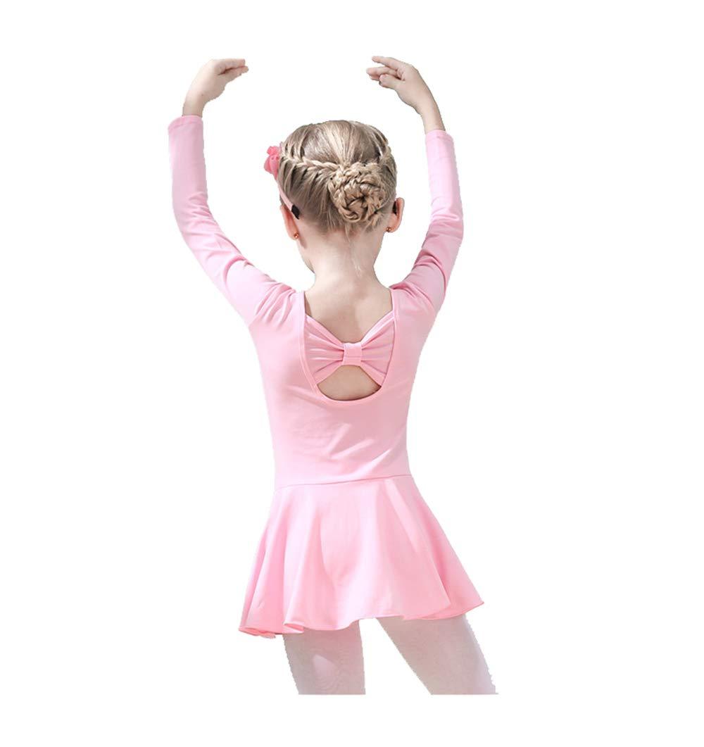 UyuGo Girl's Leotards, Girls Gymnastics Dance Skirt Ballet Leotard Long Sleeve Back Bowknot Dress (Pink, 110cm for 3-4 Years)