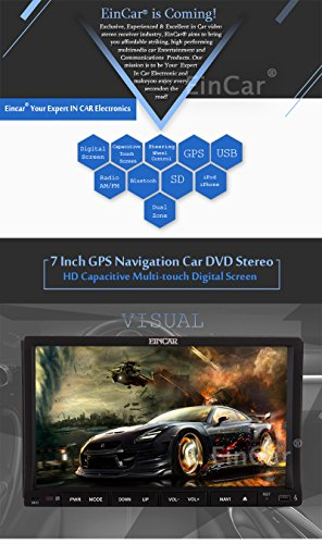 EinCar Double Din Headunit In Dash Car Stereo Video Player GPS Navigation free SD map Card 2 Din 7inch GPS NAV SAT Radio Support Bluetooth/USB/SD/FM/AM RDS Radio/Steering wheel control+Rearview Cam