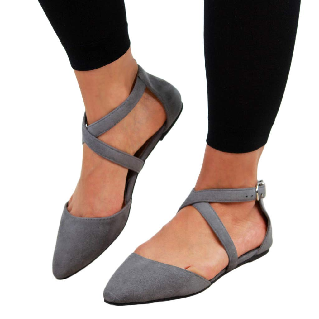Womens Flats Pointed Toe Shallow Mouth Shoes Cross Buckle Strap Beach Sandals
