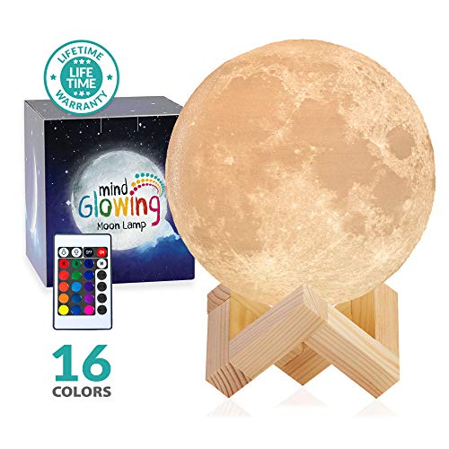 - Mind-glowing 3D Moon Lamp - 16 LED Colors, Dimmable, Rechargeable Night Light (Standard, 4.7in) with Wooden Stand, Remote & Touch Control - Nursery Decor for Your Baby, Birthday Gift Idea for Women