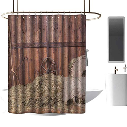 TimBeve Modern Luxurious Shower Curtain Barn Wood Wagon Wheel,Rural Old Horse Stable Barn Interior Hay and Wood Planks Image Print, Brown Dust,Print Polyester Fabric Bathroom Decor Sets 70