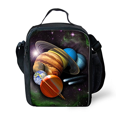 HUGSIDEA Planet Printed Portable Lunch Bags for Kids Food Snack Drinks Fruits Cooler Tote Thermal Insulted Lunchbox with Dual Zipper Closure
