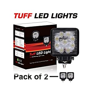 "Tuff LED Lights 2 X 4"" Inch Square 27watt LED Work Lamp Light 1550 Lumen, Off Road, Atv, Utv, Polaris Ranger"