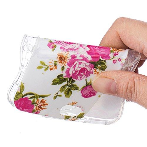 iPhone 5 5S SE Schutzhülle , LH Pfingstrose TPU Weich Muschel Tasche Schutzhülle Silikon Hülle Schale Cover Case Gehäuse für Apple iPhone 5 5S SE