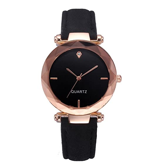 Womens Leather band watches Casual Watch Luxury Analog Quartz Crystal Wristwatch,GINELO (Black)